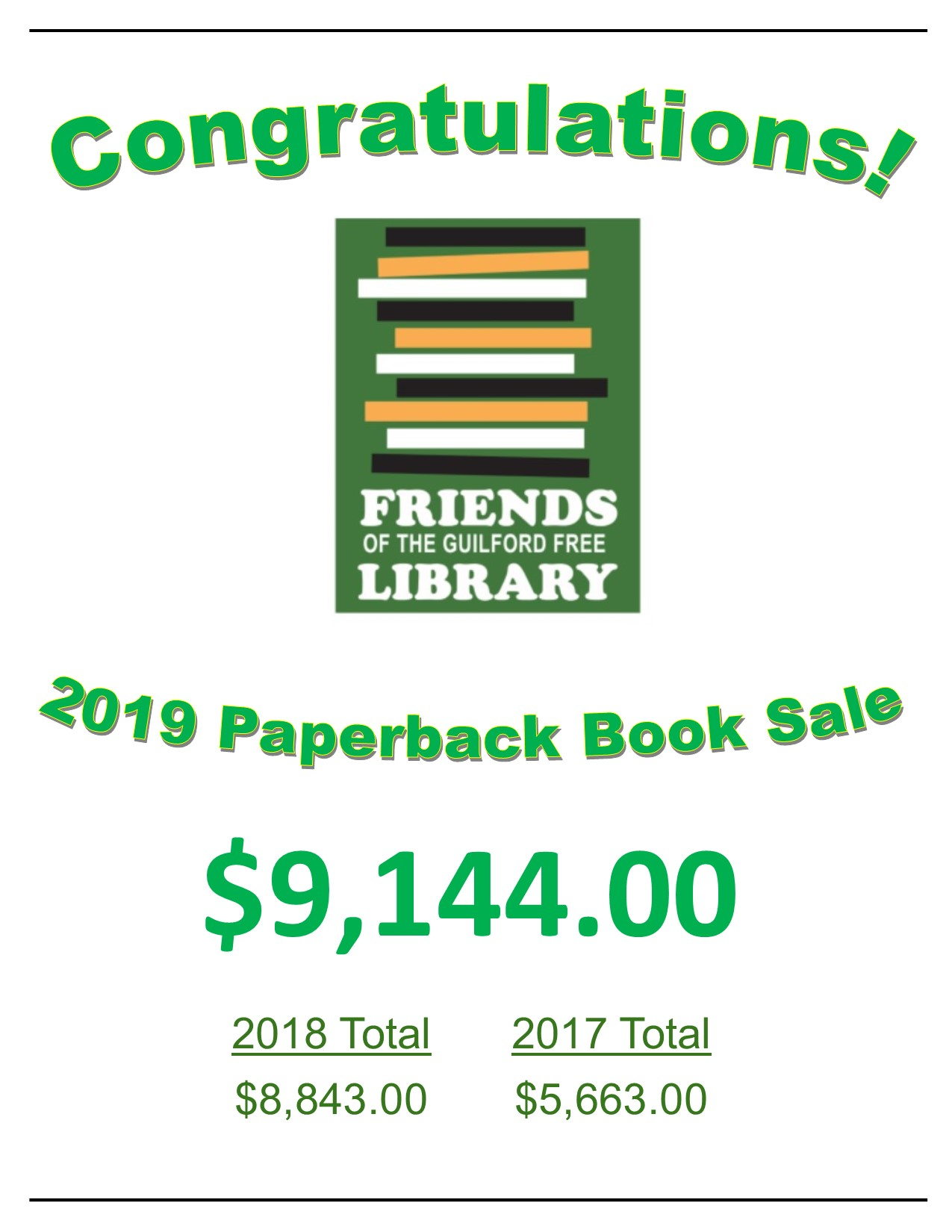 FOL Spring Book Sale Total 2019